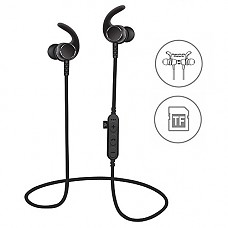[Upgraded]SYL Bluetooth headphones with TF SD card slot and Clip, sweatproof wireless in ear earbuds headsets, 블루투스 4.2 noise cancelling sports magnetic earphones with Mic for Gym running (Black)