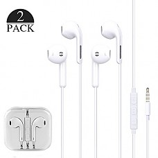 BROOKE 2-Pack Premium Earphones/Earbuds/Headphones with Stereo Mic&Remote Control for iPhone iPad iPod Samsung Galaxy and More Android Smartphones Compatible with 3.5 mm Headphone (White)