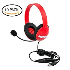 Egghead EGG-IAG-1006-RD-SO-10 USB Kids Headphones with Boom Microphone, Red (Pack of 10)