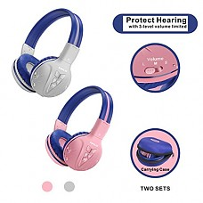 2 Pack of Kids Headphone Wireless Bluetooth with Volume Limited, Durable Wireless Kids Headsets, Wireless Headphones for Kids, Kids Safe Headphones with Carry Case for Travel,School Daily(Pink,Grey)
