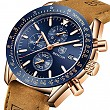 BENYAR Classic Fashion Elegant Chronograph Watch Casual Sport Leather Band Mens Watches 5140L (Brown-Blue)