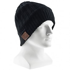 Bluetooth Beanie Hat Cap, Flashmen Wireless Bluetooth Hat with Headphone Headset Earphone Knitted Beanie with Stereo Speakers and Microphone Hands Free Talking for Women Men (Black-H002A)