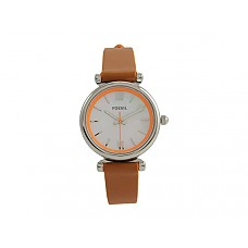 Carlie Mini Three-Hand Leather Watch - ES4835 Silver/Brown Leather