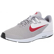 Nike Downshifter 9 Mens Running Shoes, Lightweight Mesh Mens Sneakers, Wolf Grey/University Red - White, 13