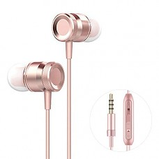 Earbuds with Microphone, Nevoc in Ear Earbuds Stereo Sound Earphones Compatible with IP 6/6s/SE/5/5c/5s/7/8/X/Xs and More Android Smartphones 3.5 mm (Rose Gold)(Rose Gold)