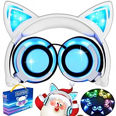 AMENON Cat Ear Kids Headphones Boys Girls,Foldable On/Over-Ear Headphones LED Lights Headsets USB Rechargeable Volume Limited Earphone 3.5mm Audio Jack iOS Android Laptop Ourdoor Travel Audio Gifts