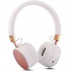 Wireless Headphones, ZESHUN 4.0 Bluetooth headset On Ear, Hi-Fi Stereo and HD Bass with Volume Control for IOS, iPhone iPad iPod Android Samsung-Rose Gold