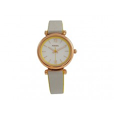 Carlie Mini Three-Hand Leather Watch - ES4834 White/Gray Leather