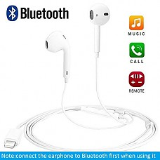 Earbuds,with Microphone Earphones Stereo Headphones Noise Cancelling Headset Compatible with Phone 7/7 Plus/Phone8/8Plus/Phone XR/Phone X/Pad In-Ear Earphones (Bluetooth Connectivity) White