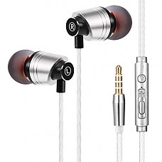 Metal Earbuds Headphones, KEKH Wired in Ear Earphone, Headset Noise Isolating Heavy Deep Bass Mic Call Controller Phone 7/6/Pad Pod More iOS Android 3.5 mm Headphone (01)