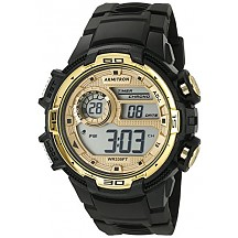 Armitron Sport Mens 40/8347BKGD Gold-Tone Accented Digital Chronograph Black Resin Strap Watch