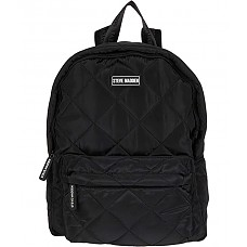 Karry Washable Quilted Nylon Backpack w/ Accessories Pouch - Black
