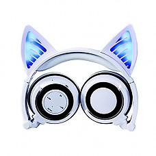 Wireless Bluetooth Cat Ear Headphones Adult, Topways Headset Flashing Glowing Cosplay Fancy Cat Headphones Foldable Over-Ear Earphone with LED Flash Light for Android Mobile Phone,Macbook (White)